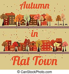 Vector flat houses - Flat cartoon houses, road, falling...