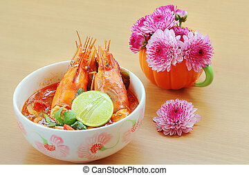 food - Tom Yum Kung or Sour prawn soup is Thailand food on...