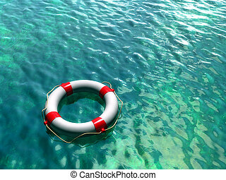 Lifesaver on clear blue and green water surface. Digital...