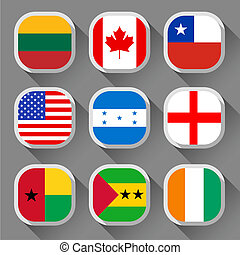Flags of the world, rounded squares with shadow, set 01