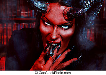 insect evil - Horned Devil with insects in the mouth Fantasy...