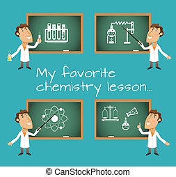 Chemistry lesson chalkboards - Scientists in chemistry...