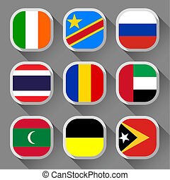Flags of the world, rounded squares with shadow, set 14