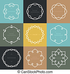 Vector set of outline emblems and badges - abstract hipster...