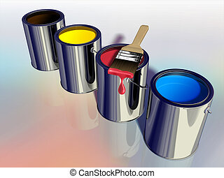 Primary colors for painting in paint buckets. Digital...