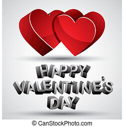 Happy Valentines Day phrase made with 3d letters and two red hea