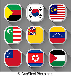 Flags of the world, rounded squares with shadow, set 22