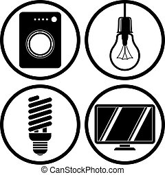 Household appliances icons set, washing machine, light bulb,...