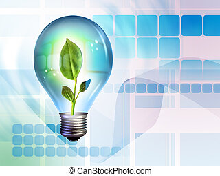 New idea - Growing idea in a light bulb. Digital...