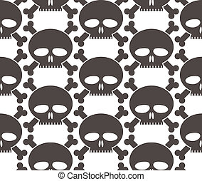 Skulls regular seamless pattern, single color vector...
