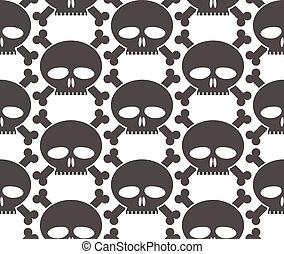 Skulls regular seamless pattern, single color vector...