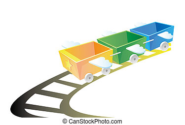train - Illustration of color train with wing on the tracks