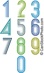 Inner Echo lined numbers vector set - Inner Echo lined...