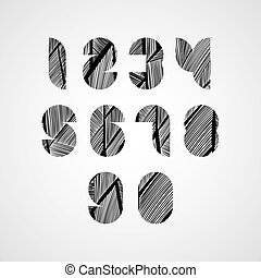 Modern digital shaped stylized numbers.