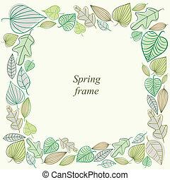 Spring frame made of leaves.