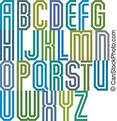 Double line geometric font.