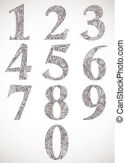 Floral numbers set, vector typeface.
