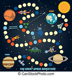 Space quest game with start finish and astronomy icons on...