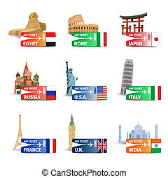 World landmarks ticket set - World famous landmarks with...