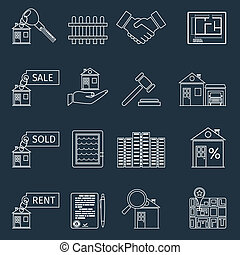 Real estate outline icons set of house apartment and...