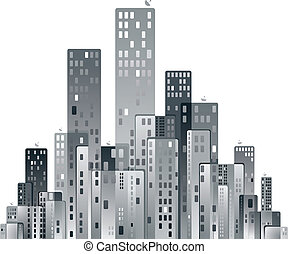 Modern city panorama vector illustration.