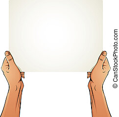 Female hands holding blank paper sheet. - Female hands...