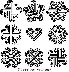 Abstract black and white curly icons. - Abstract black and...