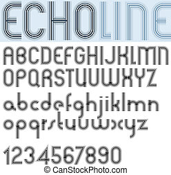 "ldquo;ECHO LINErdquo; retro striped rounded font - ""ECHO..."