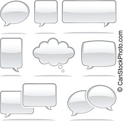 Speech Bubble Icons - Set of glossy speech bubble icons Each...