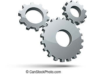 3 gears 3d vector icon. - 3 gears 3d vector icon isolated on...