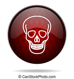 skull red glossy web icon on white background