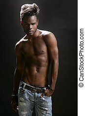 African american nude torso black sexy man at studio