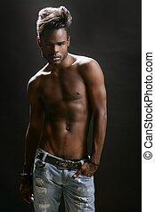 africano, norteamericano, desnudo, Torso, negro, Sexy,...