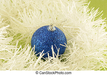 Christmas background with blue new year balls
