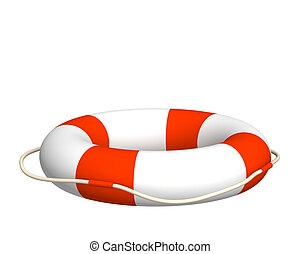 3d bright lifebuoy - The 3d lifebuoy - object over white