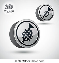 Music pipe icon isolated, 3d vector music theme design...