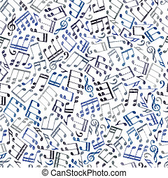 Seamless aged musical notes background.