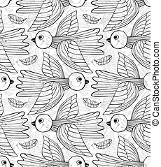 Graphic stylized birds seamless pattern - Graphic stylized...