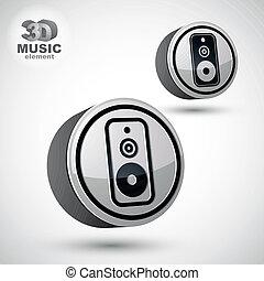 Audio speaker 3d vector round icon isolated.