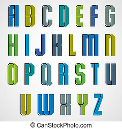Vector geometric alphabet, bold and condensed font in retro...