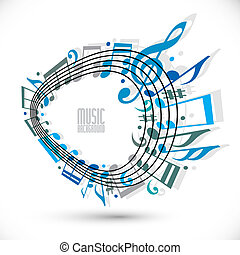 Blue music background with clef and notes, music sheet in rounde