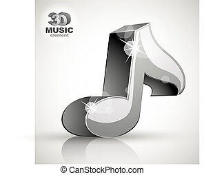 Metallic musical note icon from upper view isolated. -...