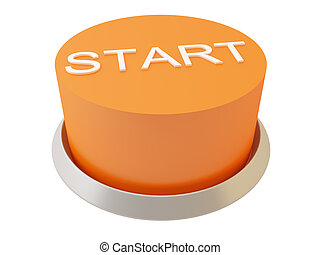 Start - 3d image of button Start. White background.
