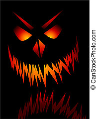 Evil face - Evil Halloween face on a black background