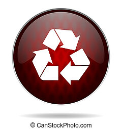 recycle red glossy web icon on white background