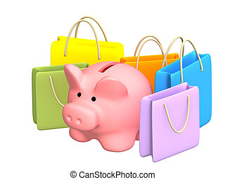 Shopping - Piggy bank with packages purchases - over white