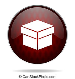 box red glossy web icon on white background