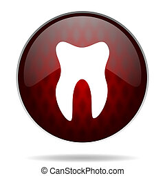 tooth red glossy web icon on white background