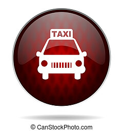 taxi red glossy web icon on white background