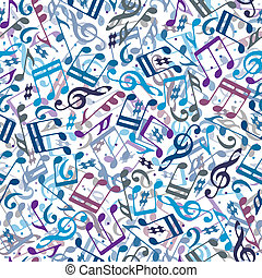 Colorful musical notes seamless pattern.